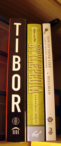 Book spines: Tibor, Stylepedia, How to Think Like a Great Graphic Designer