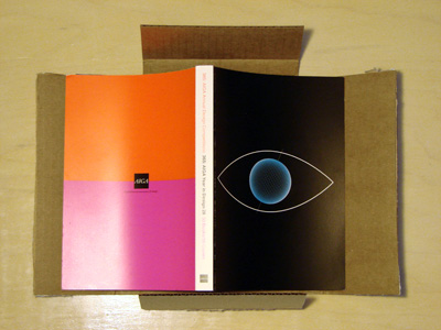 "Cover of ""365: AIGA Year in Design 28"" on cardboard packaging"