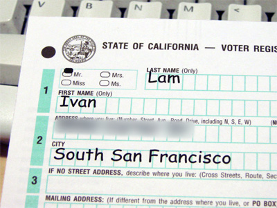 California Voter Registration Form with Comic Sans.