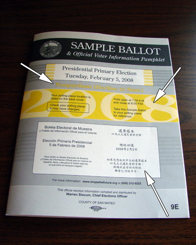 Sample Ballot Front Cover