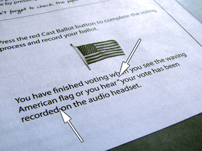 Sample Ballot showing missing closing quote mark
