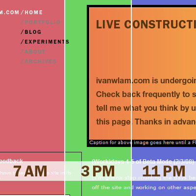 Three versions of the beta site with a different background color at different time of day.