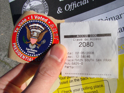 I Voted Sticker and my personal Access Code to the machines