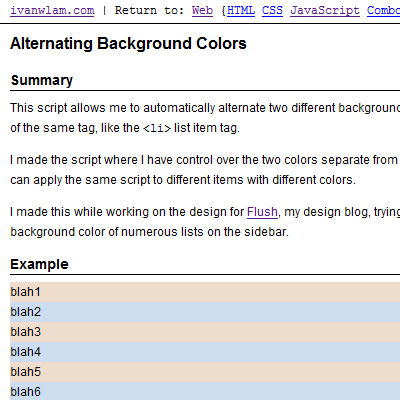 Screen shot of Alternating Background Colors Web Experiment Page